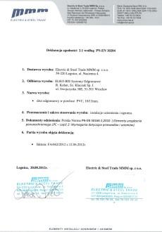 Декларація відповідності для DR 10 OC PVC