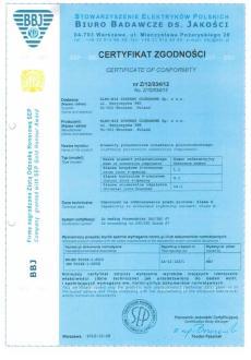 Декларація відповідності обладнання ELKO-BIS до стандартів EN 50164